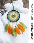 dream catcher with feathers... | Shutterstock . vector #1049109242