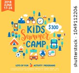 kids summer camp concept with... | Shutterstock .eps vector #1049112206