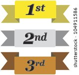Winners ribbons for first, second and third place in gold, silver and bronze isolated on white - stock photo