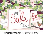 Sale tags hang from trees with space for text like 50% off - stock photo