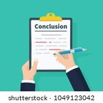 man writes conclusion  report... | Shutterstock .eps vector #1049123042