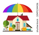 family house with big colorful... | Shutterstock .eps vector #1049134436