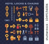 various chain and vintage keys... | Shutterstock .eps vector #1049156006
