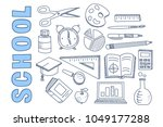 school stationary equipment set ... | Shutterstock .eps vector #1049177288