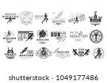 vector set of monochrome logos... | Shutterstock .eps vector #1049177486