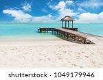 beautiful sandy beach  azure... | Shutterstock . vector #1049179946