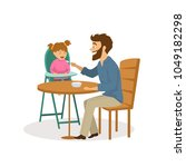cheerful father feeding his... | Shutterstock .eps vector #1049182298