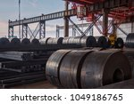 a large amount of steel is... | Shutterstock . vector #1049186765