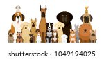 Stock vector group of dog breeds illustration various size front view pet 1049194025