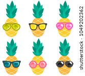 set of pineapples with... | Shutterstock .eps vector #1049202362