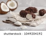 raw homemade vegan chocolate... | Shutterstock . vector #1049204192