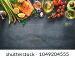 fresh salmon fillet with... | Shutterstock . vector #1049204555