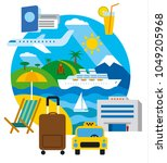 travel and resort concept flat... | Shutterstock . vector #1049205968
