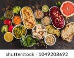 vegan food background.... | Shutterstock . vector #1049208692