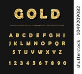 golden glitter font on black... | Shutterstock .eps vector #1049209082