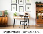 close up of wooden desk with a... | Shutterstock . vector #1049214578