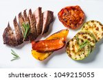 barbecue dish. beef steak and... | Shutterstock . vector #1049215055