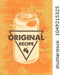 vintage can beer colour poster. ... | Shutterstock .eps vector #1049215325