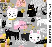 cute cats seamless pattern.... | Shutterstock .eps vector #1049217425