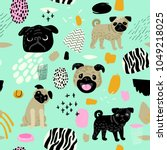cute dogs seamless pattern.... | Shutterstock .eps vector #1049218025