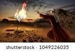 moses and the burning bush.... | Shutterstock . vector #1049226035