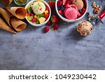 summer ice cream flavors with... | Shutterstock . vector #1049230442