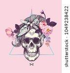 women's skull in pop art style... | Shutterstock .eps vector #1049238422
