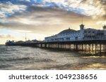 winter sunset landscape of... | Shutterstock . vector #1049238656