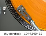closeup of turntable with... | Shutterstock . vector #1049240432