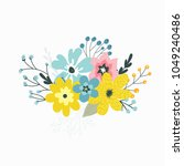 colorful vector set of floral...   Shutterstock .eps vector #1049240486