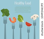 vegetables on forks. healthy... | Shutterstock .eps vector #1049246195