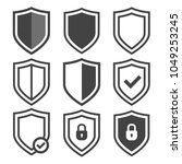 vector shield icon set.... | Shutterstock .eps vector #1049253245