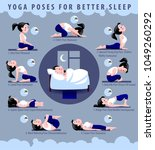 yoga poses for better sleep.... | Shutterstock . vector #1049260292