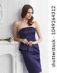 young fashion woman in short... | Shutterstock . vector #1049264312