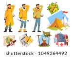 man dressed as camper  fisher... | Shutterstock .eps vector #1049264492
