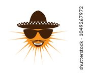 smiling sun in a mexican hat. | Shutterstock . vector #1049267972