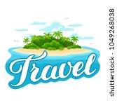 illustration of tropical island ... | Shutterstock .eps vector #1049268038