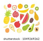set of tasty ripe juicy exotic... | Shutterstock .eps vector #1049269262
