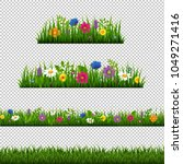 grass border with flower... | Shutterstock . vector #1049271416