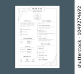minimalist cv template | Shutterstock .eps vector #1049274692
