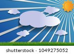 grass  sky  clouds  and the sun ... | Shutterstock .eps vector #1049275052