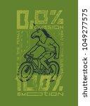 unicorn head eco bicycle rider. ... | Shutterstock .eps vector #1049277575