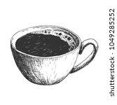 sketch ink hatching cup of... | Shutterstock .eps vector #1049285252