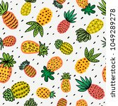 Seamless sunny pineapple pattern. Decorative Pinapple with different textures in warm colors. Exotic fruits background For Fashion print textile fabric covers wallpapers wrap. Vector Summer background