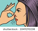 woman holding her nose because... | Shutterstock .eps vector #1049293238