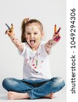 a girl showing victory sign... | Shutterstock . vector #1049294306