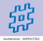 3d blue hashtag in vector... | Shutterstock .eps vector #1049317322