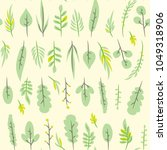 seamless pattern with leaf.... | Shutterstock .eps vector #1049318906