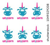 funny unicorn face graphic logo ... | Shutterstock . vector #1049329208