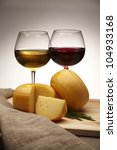 cheese with red and white wine... | Shutterstock . vector #104933168